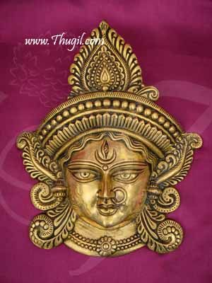 "Goddess Durga Face Wall Decoration Brass Buy Now 11"""