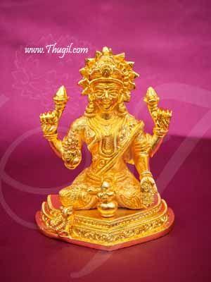 "Gold Plated Goddess Lakshmi Statue of Brass Buy Now 5"""