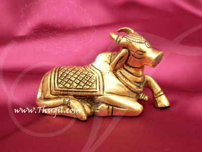 "Nandi Brass Statue India Bull for Lord Shiva Shop Online - 2"""
