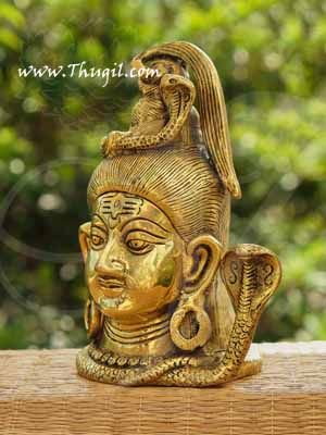 """Brass Lord Shiva Head Statue And Sculptures Buy Now 7"""""""