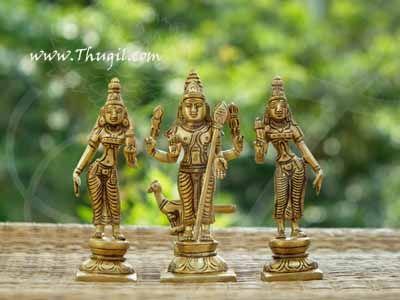 "Brass Murugan Valli Deivanai Statue Buy Now 5.5"""