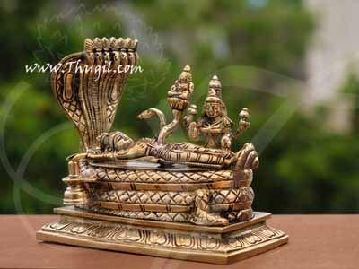 """Brass Lord Anantha Padmanabha Resting Sheshnag Touching Shiva Lingam Buy Now 6"""""""