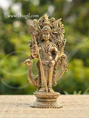 "Brass Lord Murugar Karthikeya Statue Buy Now 10"""