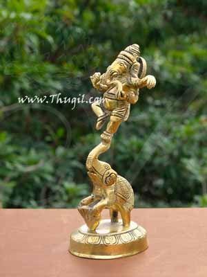 """Brass Nritya Ganapati Ganesha Standing on Elephant Statue Buy Now 6.5"""""""