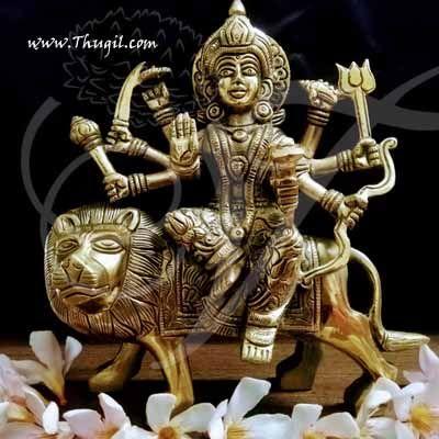 "Brass Durga Devi Hindu Religious Goddess Statue Buy Now 7"""