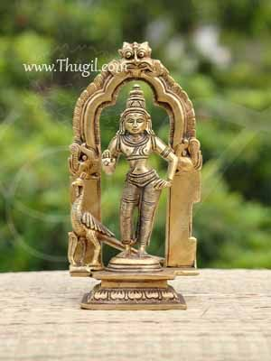"Brass Bala Murugan Karthegeyan With Peacock Statues Buy Now 7"""