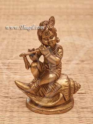 """Brass baby Krishna Idol Sitting on Shankh Buy Now 4.5"""""""