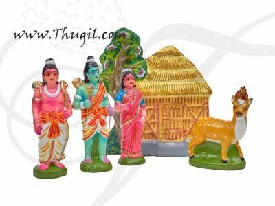 Lord Rama Sita and Lakshman Set Golu Doll Bommai Navarathatri Buy Online