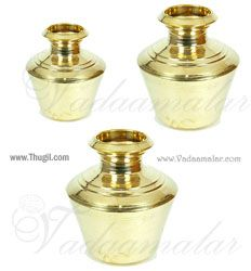 "8.5"" / 7.5"" Brass Plain Kalasham Kudam Sombu for Holi water"