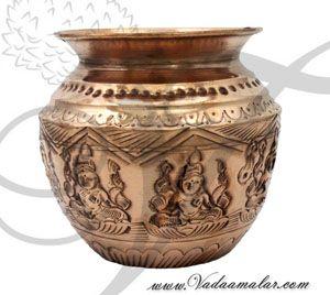 Lakshmi engraved Copper Kalasham for Holi water Buy Online