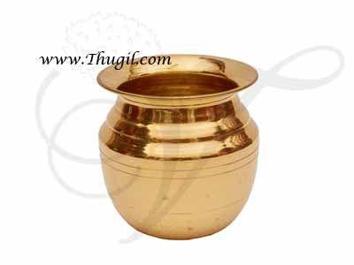 "4"" Plain Brass Pooja Kalasham Sombu  for Holi Water Buy Now"