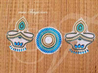 2 Diyas and Candle Holder Arrangeable Transparent Kolam kundan Rangoli Designs Buy Online