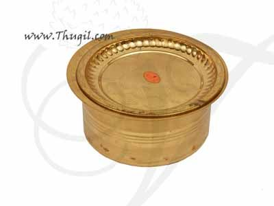 """Brass Vessel Storage Container with Plate Buy Online 4"""""""