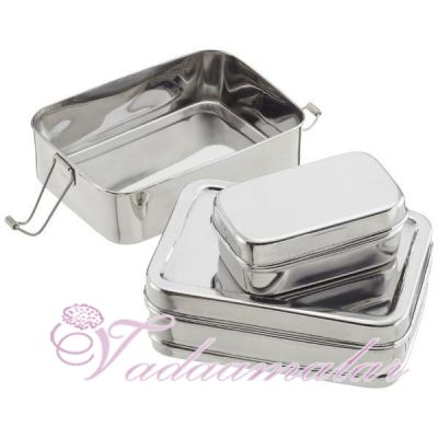 Rectangular Stainless Steel Two tier Tiffin Box with small container