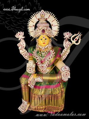 "28"" Goddess Lakshmi VaraLaksmi Idol for Pooja Vratam Doll with Decorations"