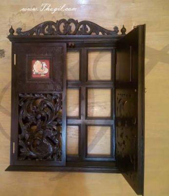 "26"" pooja mandir mandap wall mount teak wood wooden Buy Now"