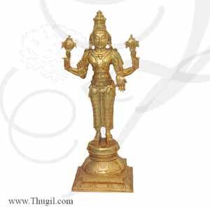 """12"""" Vishnu Murthy Moorthi Brass Idol Buy Now"""