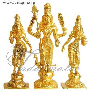 """4"""" Murugar Valli Deivanai Moorthi Brass Deity"""