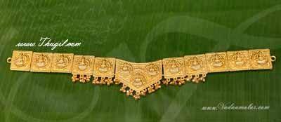 Gold Colour Kamarband Lakshmi engraved waist belt Odiyanam God Swamy Jewellery