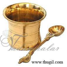 """3"""" Panchapatra Udharini Brass Set Buy Now"""