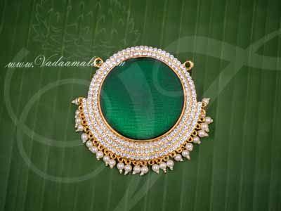 "Pathakam White Stone green Enamel Hindu God Chest Jewellery Buy Now 3.5"""