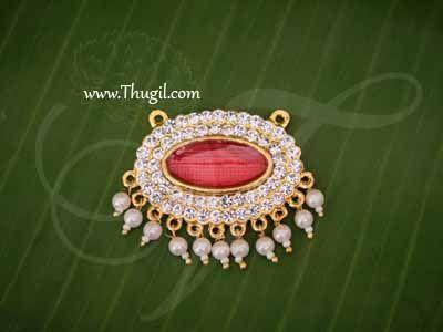 Pathakam White Stone Maroon Enamel Hindu God Chest Jewellery Buy Now