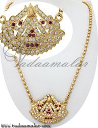 Sparkling white & pink stones designer lakshmi pendant and chain for traditional costumes