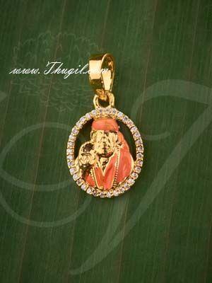 Lord Saibaba American Diamond Stones Pendant Buy Online