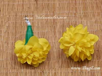 Yellow Marigold Flower Samanthi Cloth Flower Decoration Crafts Buy Online - 25 pieces