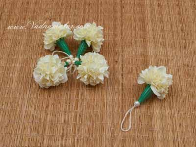 Off-White Marigold Flowers Samanthi Cloth Flower Decoration Crafts Buy Online - 25 pieces