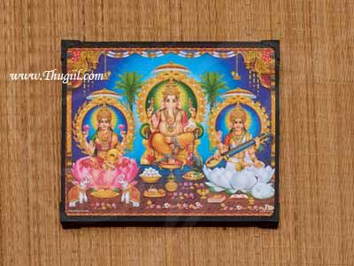Lakshmi Saraswati Ganesha Laminated Photo Frame Buy Online 9 inches