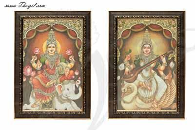 Lakshmi Saraswati Photo Frame For Puja and Decorations Buy Online 14 inches