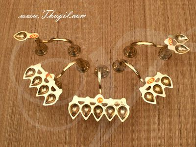 5 pieces Brass Pancha Hindu Pooja Aarthi Set Buy online