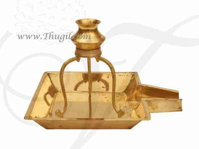 Brass Abhishek Kalasam with Stand and Plate for Lord Shiva Lingam Buy Now