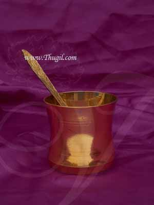 """Copper Panchapathram Udharhini Set With Spoon 2.8"""""""