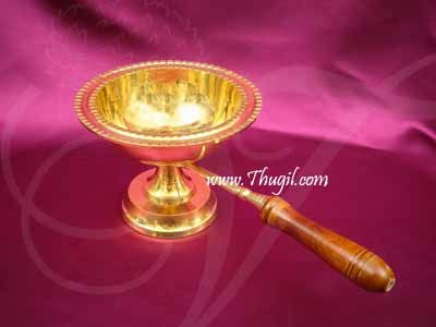 """Aarti Dhoop Brass Wooden Handle Buy Now -11"""" Large Size"""