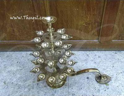 Sturdy Hand Held 28 Oil Lamps in Three Step Adukku Aarthi for Puja Aarti