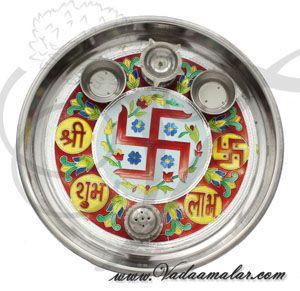 Meenakari design steel thamboolam plates