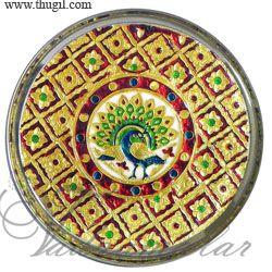 Meenakari design steel thamboolam plates Buy now