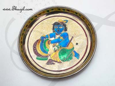 Meenakari Krishnan design steel thamboolam plates