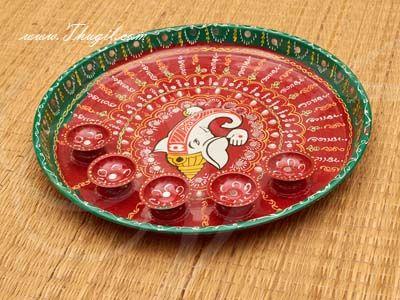 Meenakari Lord Ganesha Design Steel Thamboolam Plates