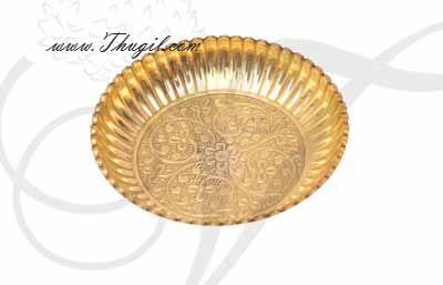 "Small Size Brass Pooja Plate Flower Design Thattu Buy Now 4.5"""