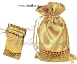 Traditional Hand Made Weddings Cloth Gold Bags Pouchs Wedding Festivals Puja India