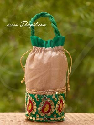 10 x 7 Jute with Embroidery Gifts Batwa Cloth Bags Pouchs Wedding India Buy Now
