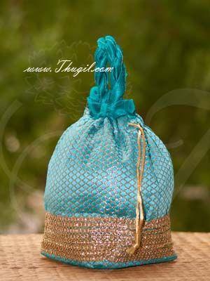 8.5 x 9 Potli Bag golden lace Wedding Return Gift Hamper Pouch Buy Now