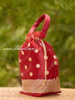 11 x 9 Purple Zari Design Embroidery Gifts Batwa Potli Bag Pouchs Wedding India Buy Now