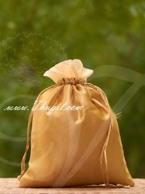 10 x 8 Gold Gift bag India Weddings Festivals Satin Cloth Bags Pouchs Return Gifts Buy Now