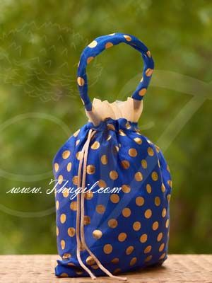 10 x 8 Blue Colour Potli Bag with wide golden lace Wedding Return Gift Buy Now