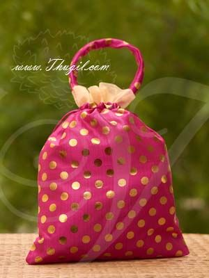 12-15 inches Potli Bag with wide golden lace Wedding Return Gift Buy Now