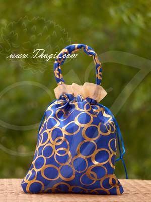 """10 x 8"""" Potli Bag Round Design with wide golden lace Wedding Return Gift Buy Now"""